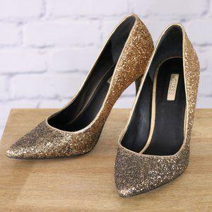 Guess gold glitter pumps 4 inch heel closed toe c3